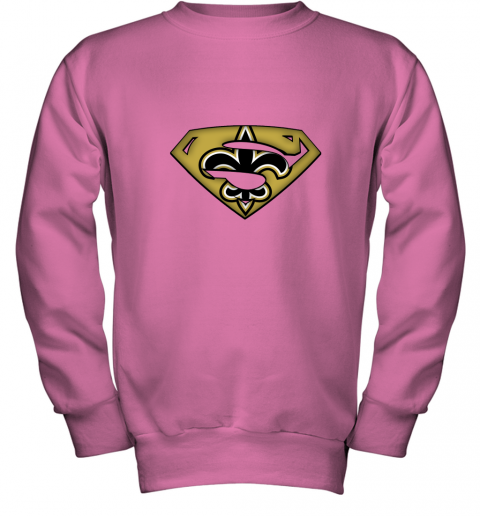 oirq we are undefeatable new orleans saints x superman nfl youth sweatshirt 47 front safety pink