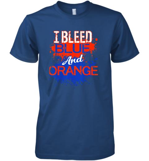 xkkv i bleed blue and orange fan shirt football soccer baseball premium guys tee 5 front royal