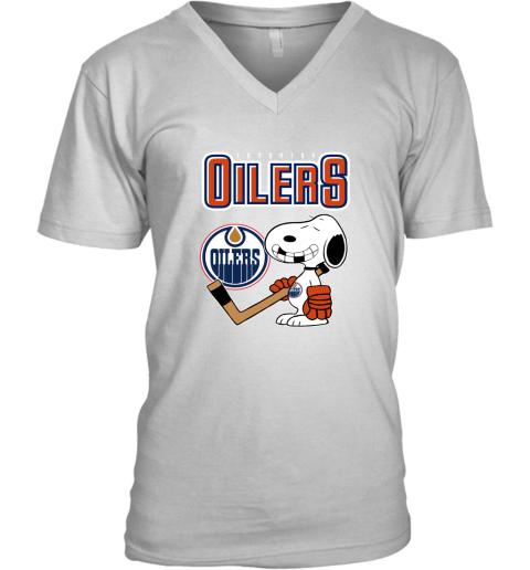 snat edmonton oilers ice hockey broken teeth snoopy nhl shirt v neck unisex 8 front white