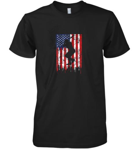 Vintage Patriotic American Flag Baseball Shirt USA Premium Men's T-Shirt