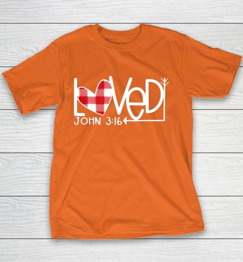 John 3 16 Loved Valentine Heart Youth T-Shirt 4