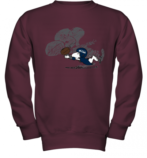 Seattle Seahawks Snoopy Plays The Football Game Youth Sweatshirt