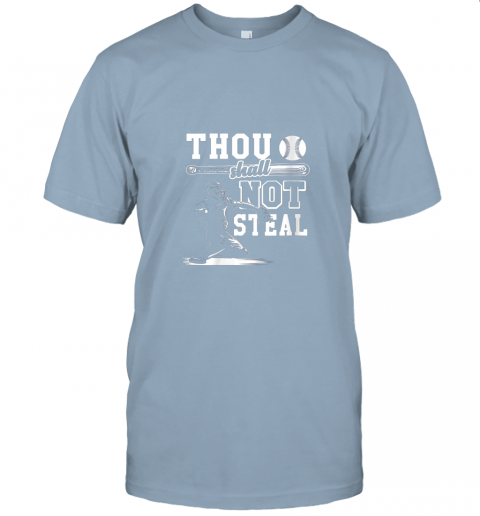 uf4o funny baseball thou shall not steal baseball player jersey t shirt 60 front light blue