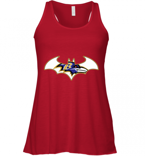 vhxx we are the baltimore ravens batman nfl mashup flowy tank 32 front red