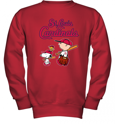 p48o st louis cardinals lets play baseball together snoopy mlb shirt youth sweatshirt 47 front red