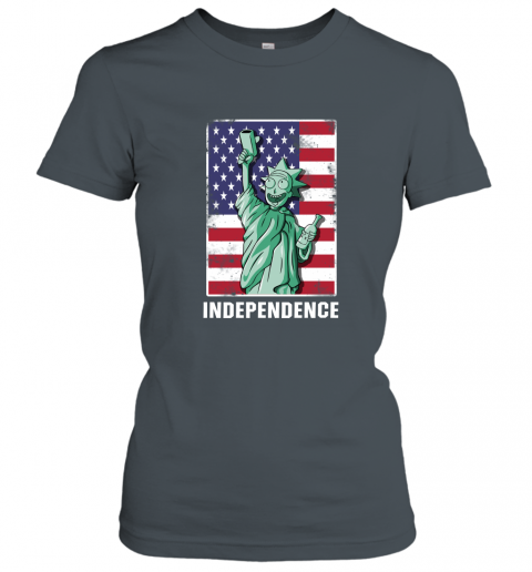 nzlr rick and morty statue of liberty independence day 4th of july shirts ladies t shirt 20 front dark heather