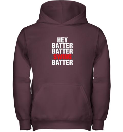 9k4w hey batter batter swing batter funny baseball youth hoodie 43 front maroon