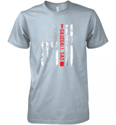 xtb5 mens proud baseball dad american flag sports premium guys tee 5 front light blue