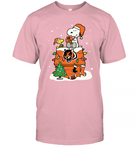 usxp a happy christmas with cincinnati bengals snoopy jersey t shirt 60 front pink