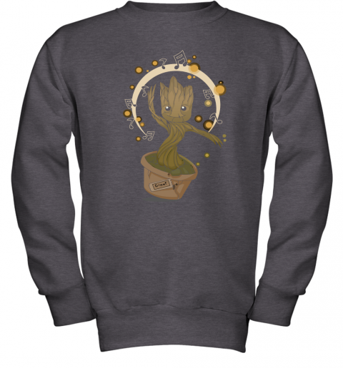 ungt baby groot dancing to music guardians of the galaxy shirts youth sweatshirt 47 front dark heather