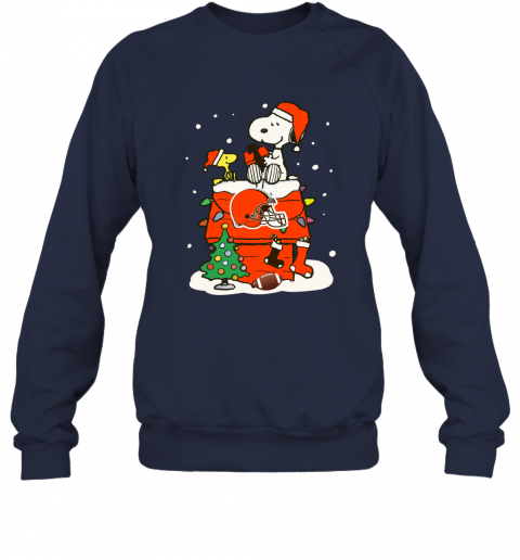 1pma a happy christmas with cleveland browns snoopy sweatshirt 35 front navy
