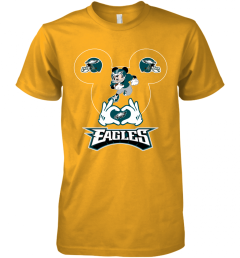 pnya i love the eagles mickey mouse philadelphia eagles premium guys tee 5 front gold