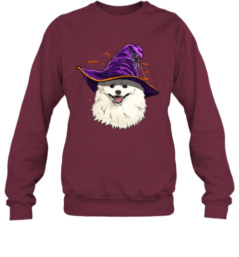 American Eskimo Dog Witch Hat Funny Halloween Dog Lover Gift Sweatshirt