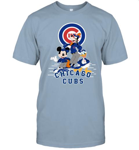 uwlt chicago cubs mickey donald and goofy baseball jersey t shirt 60 front light blue