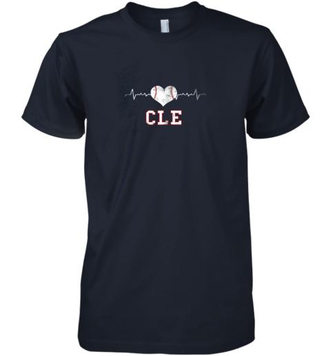 icno cleveland baseball shirt cleveland ohio heart beat cle premium guys tee 5 front midnight navy