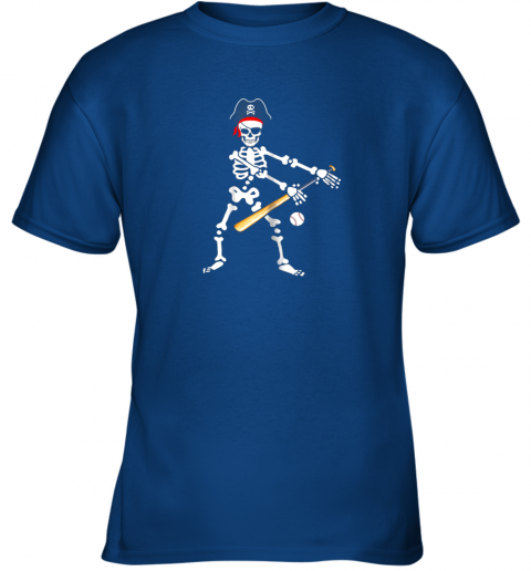 wb7n skeleton pirate floss dance with baseball shirt halloween youth t shirt 26 front royal
