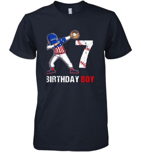 payk kids 7 years old 7th birthday baseball dabbing shirt gift party premium guys tee 5 front midnight navy