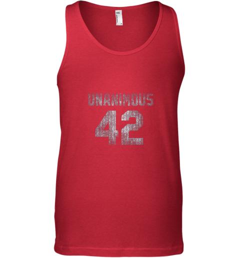 ppjo new york 42 baseball unanimous hof distressed mo hero unisex tank 17 front red