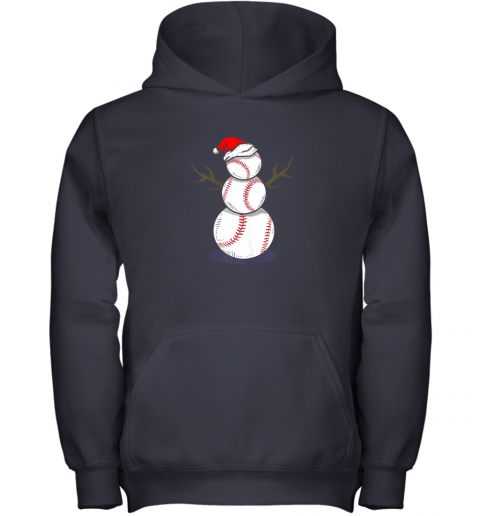 73m4 christmas in july summer baseball snowman party shirt gift youth hoodie 43 front navy