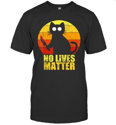 No Lives Matter Halloween Murderous Cat With Knife Adult T-Shirt
