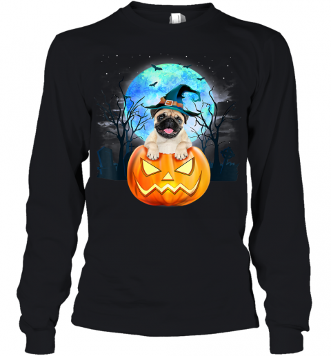 Pug Dog Witch Hat Halloween Pumpkin Gift Youth Long Sleeve