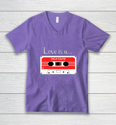 Love is a MixTape Retro Old School Valentine V-Neck T-Shirt 8