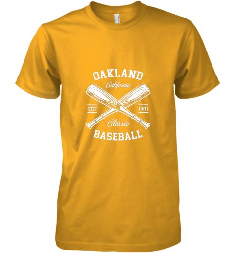 w20e oakland baseball classic vintage california retro fans gift premium guys tee 5 front gold