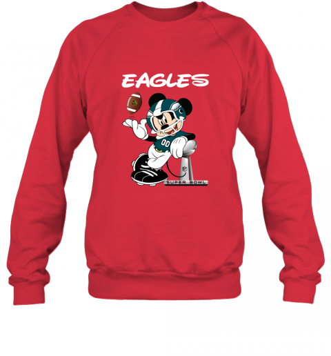 sq3t mickey eagles taking the super bowl trophy football sweatshirt 35 front red