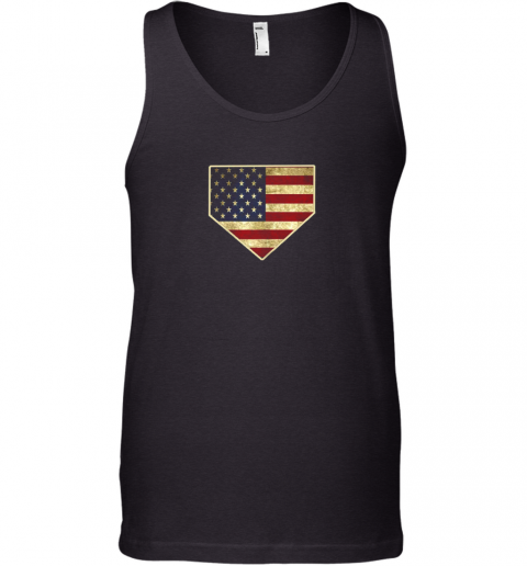 Vintage American Flag Baseball Shirt Home Plate Art Gift Tank Top