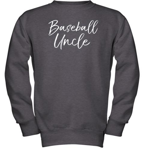 kyqt baseball uncle shirt for men cool baseball uncle youth sweatshirt 47 front dark heather
