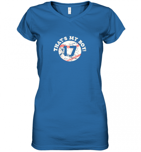 9zi9 that39 s my boy 17 baseball player mom or dad gift women v neck t shirt 39 front royal