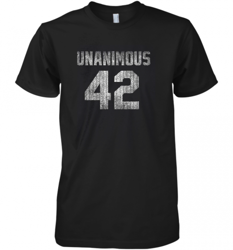 New York 42 Baseball Unanimous HOF Distressed Mo Hero Premium Men's T-Shirt