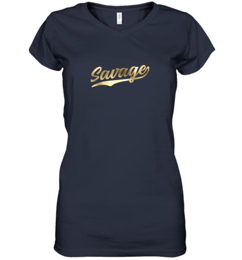 q2tw savage shirt retro 1970s baseball script font women v neck t shirt 39 front navy