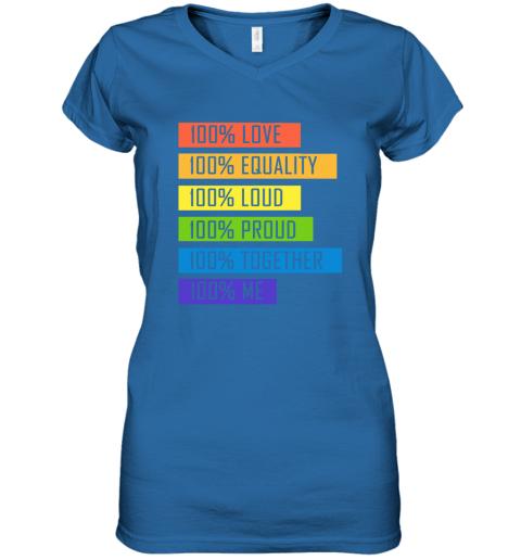 opom 100 love equality loud proud together 100 me lgbt women v neck t shirt 39 front royal