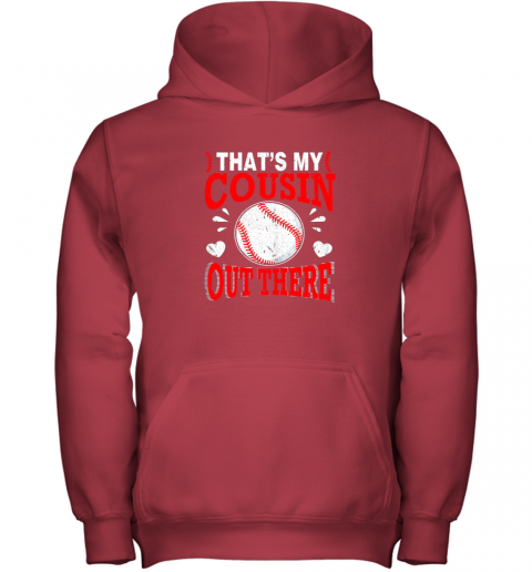 nrwj hearts baseball player that39 s my cousin out there fan youth hoodie 43 front red