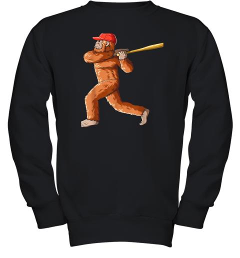 Bigfoot Baseball Sasquatch Playing Baseball Player Youth Sweatshirt