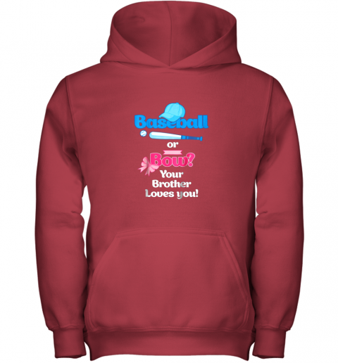 5wqf kids baseball or bows gender reveal shirt your brother loves you youth hoodie 43 front red