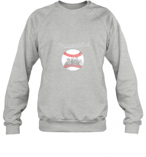qy32 philadelphia baseball philly tshirt ball and skyline design sweatshirt 35 front sport grey