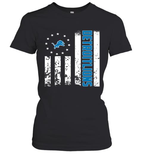 NFL Detroit Lions Logo American Flag Women's T-Shirt