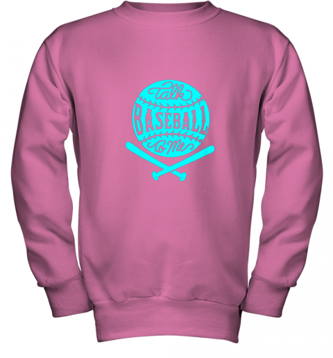 uoc9 talk baseball to me groovy ball bat silhouette youth sweatshirt 47 front safety pink