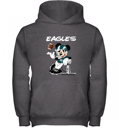 jwbo mickey eagles taking the super bowl trophy football youth hoodie 43 front dark heather
