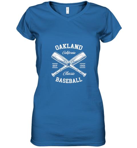w5i9 oakland baseball classic vintage california retro fans gift women v neck t shirt 39 front royal