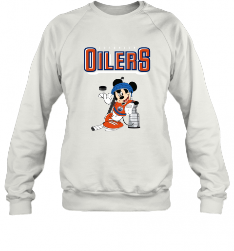 v2qw mickey edmonton oilers with the stanley cup hockey nhl shirt sweatshirt 35 front white