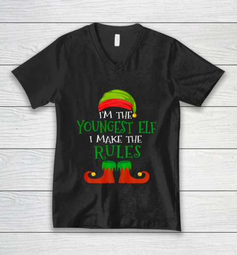 Youngest Elf Family Matching Funny Christmas Pajama Party V-Neck T-Shirt
