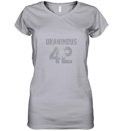 mnhq new york 42 baseball unanimous hof distressed mo hero women v neck t shirt 39 front sport grey