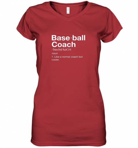 45om coach baseball shirt team coaching women v neck t shirt 39 front red