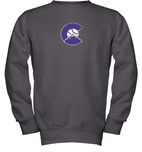 baqw colorado rocky mountain baseball sports team youth sweatshirt 47 front dark heather