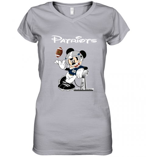 ro5e mickey patriots taking the super bowl trophy football women v neck t shirt 39 front sport grey