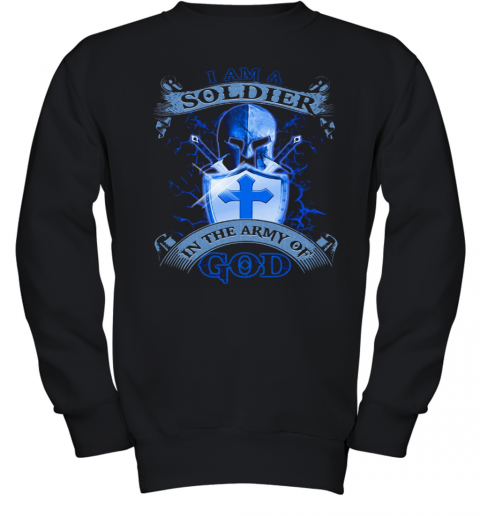 I AM A SOLDIER IN THE ARMY OF GOD SHIELD Youth Sweatshirt