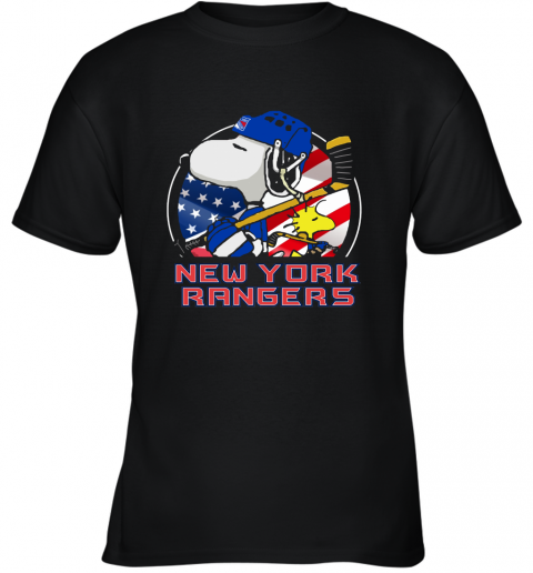 New York Ranger Ice Hockey Snoopy And Woodstock NHL Youth T-Shirt
